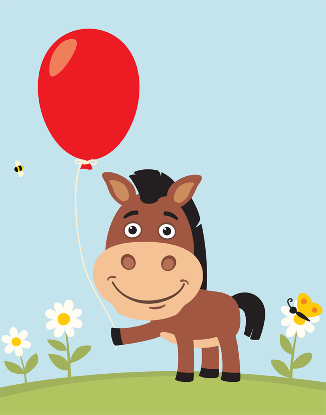 Cartoon horse holding a balloon